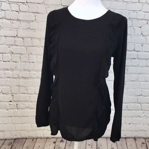 Old Navy Ruffle Front Long Sleeve Blouse